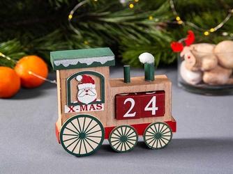 Kalendarz adwentowy  dekoracja świąteczna  ozdoba drewniana na boże narodzenie altom design ciuchcia z mikołajem 13 x 15 cm