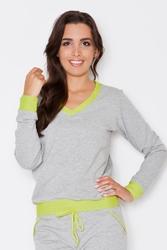 Szaro-zielona dresowa nierozpinana bluza z dekoltem v z kontrastowymi mankietami