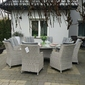 Zestaw mebli ogrodowych gabi stół + 8 foteli jasnoszary technorattan