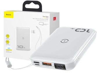 Baseus mini s power bank 10000mah pd+qc 18w ładowarka qi 10w white