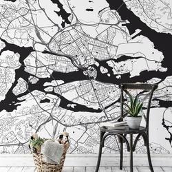 Tapeta na ścianę - mapa sztokholm , rodzaj - próbka tapety 50x50cm