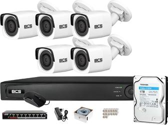 Zm14099 zestaw monitoringu bcs view rejestrator ip 5x kamera 4mp bcs-v-ti421ir3