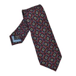 Czerwony krawat wełniany w błękitny wzór