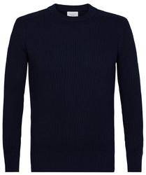 Elegancki granatowy sweter w prążek z grubym ściągaczem s