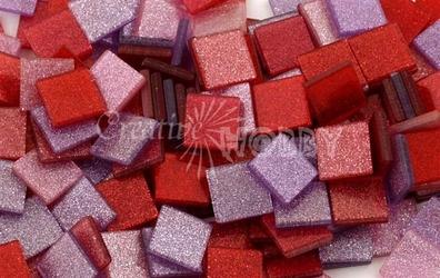 Mozaika glitter różowa 10x10 mm - 190 sztuk - RÓŻBRO