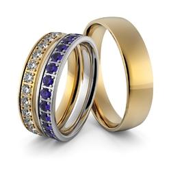 Obrączki ślubne dwukolorowe z brylantami i szafirami - zestaw obrączek - au-957