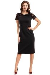 Czarna sukienka wieczorowa ołówkowa midi z koronką