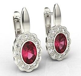 Kolczyki z białego złota z rubinami i diamentami lpk-79b - białe  rubin