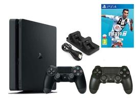 Konsola Sony PS4 500 GB Slim + 2 Pady + FIFA 19 + Ładowarka