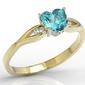 Pierścionek z żółtego i białego złota z niebieskim topazem w kształcie serca i diamentami lp-71zb