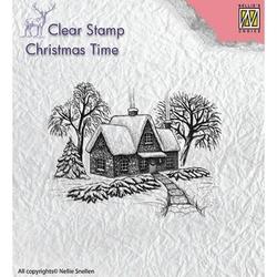Stempel świąteczny zimowy domek