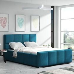 Klasyczne łóżko tapicerowane do sypialni aspen z przeszyciami