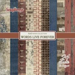 Zestaw papierów15x1524 szt. Words Live Forever - WLF