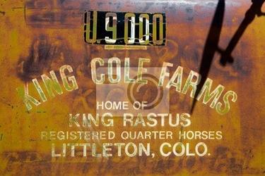 Fototapeta vintage ogłoszenie na farmie malowane na zardzewiałego metalu tle