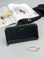Skórzany portfel damski lakierowany rfid rovicky - czarny