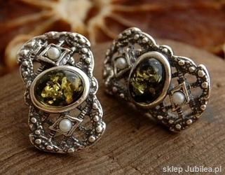 Lorena - srebrne kolczyki z bursztynem i perłami