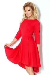 Czerwona Sukienka z Szerokim Asymetrycznym Dołem