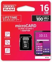 Karta pamięci microsd goodram uhs1 cl10 16gb + adapter 100mb - szybka dostawa lub możliwość odbioru w 39 miastach