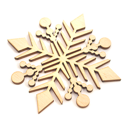Płatek śniegu - drewniana dekoracja 9x9 cm