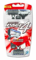 Dorco Pace4, maszynka jednorazowa do golenia dla mężczyzn, 4 ostrza, 3 sztuki