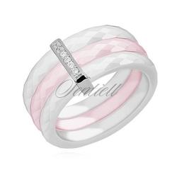 Potrójny pierścionek ceramiczny biały i różowy ze srebrnym pr. 925 elementem - prostokąt z cyrkoniami