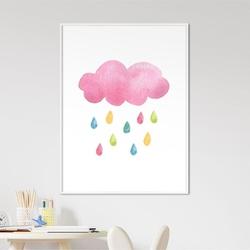 Plakat dla dzieci - rainbow rain , wymiary - 70cm x 100cm, kolor ramki - biały