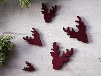 Dekoracje świąteczne  ozdoby renifery na boże narodzenie altom design drewniane z welurowym frontem, bordowe 20 sztuk