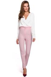 Eleganckie spodnie damskie z wysokim stanem i zakładkami liliowe k008