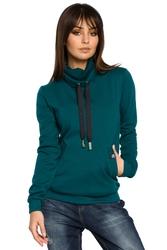 Bluza damska z wysokim kołnierzem i wiązaniem zielona b055