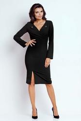 Czarna wizytowa dopasowana sukienka z guzikami przy dekolcie