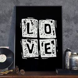 Love square - plakat w ramie , wymiary - 60cm x 90cm, ramka - czarna