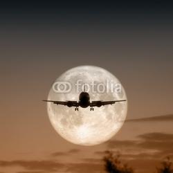 Obraz na płótnie canvas trzyczęściowy tryptyk Fotografia samolotu odrzutowego na księżycu