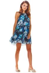 Mini Granatowa Sukienka w Kwiaty
