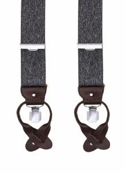Szare szelki męskie do spodni uniwersalne na guziki i klipsy