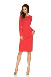 Czerwona Elegancka Dopasowana Sukienka z Patkami na Guzik