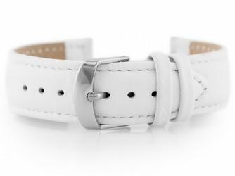 Pasek skórzany do zegarka W71 - biały - 18mm
