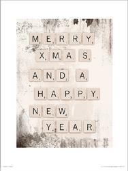 Christmas Scrabble Merry - plakat premium