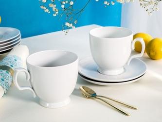 Filiżanki do cappuccino ze spodkiem porcelana mariapaula biała, komplet 2 szt.