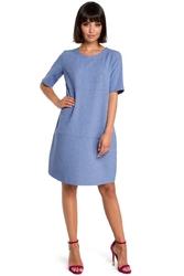 Codzienna niebieska sukienka bombka przed kolano