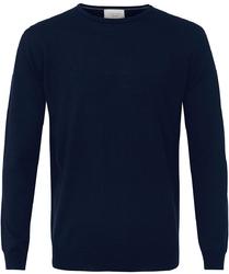 Sweter  pulower o-neck z wełny z merynosów granatowy s