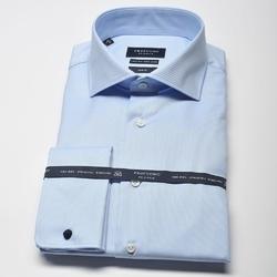 Elegancka błękitna koszula męska taliowana SLIM FIT, mankiety na spinki 45
