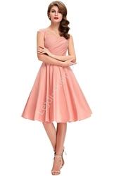 Bawełniana sukienka pin-up pudrowy róż, swingdress