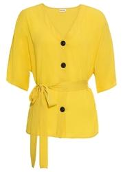 Bluzka z wiązanym troczkiem bonprix żółty kukurydziany
