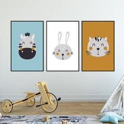 Zestaw plakatów dziecięcych - best friends , wymiary - 30cm x 40cm 3 sztuki, kolor ramki - biały