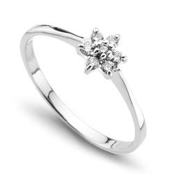 Staviori pierścionek. 7 diamentów, szlif brylantowy, masa 0,08 ct., barwa i-n, czystość si2-i1. białe złoto 0,585. średnica korony ok. 6 mm. wysokość 3,8 mm. szerokość obrączki ok. 1,3 mm.