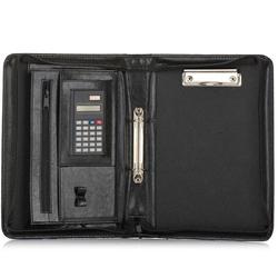 Aktówka biwuar na dokumenty a5 z kalkulatorem solier st02 czarny - czarny
