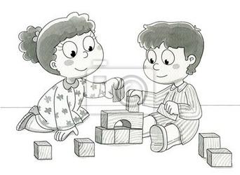 Fototapeta bambini che giocano con cubetti. mld