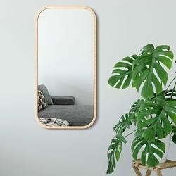 Prostokątne lustro mira w skandynawskim stylu z ramą w kolorze naturalnym