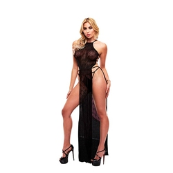 Długa narzutka - lapdance lace gown   sm czarny