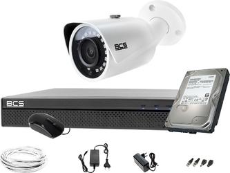 1x bcs-tq3200ir-e rejestrator bcs-xvr0401-iii dysk 1tb monitoring
